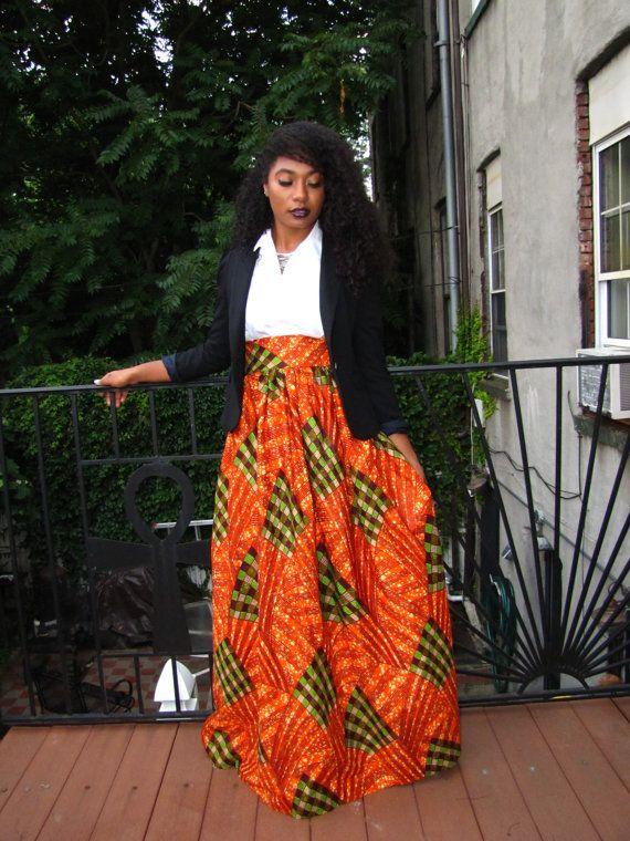 African Print Maxi High Waist Skirt Plus Sizes By
