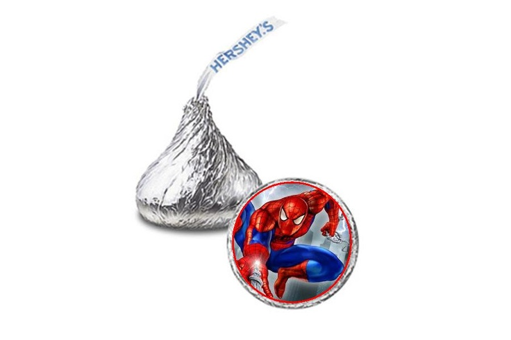 Spiderman Candy Stickers Hershey Kisses party favor confetti treat bag. $5.00, via Etsy.