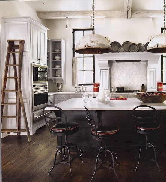 Industrial Meets Rustic In This Kitchen: Rustic, Industrial Lights In The Kitchen
