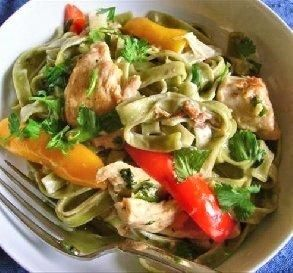 Interesting idea for a healthy version of this recipe. Chicken Tequila Fettuccine