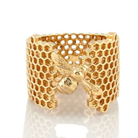 HONEYCOMB BEE RING GOLD