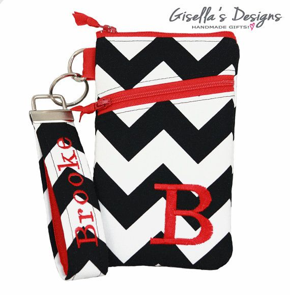 Black chevron and red iPhone 6 Wallet with Asymmetric pocket, Personalized iPhone 5 / 6 / 6 plus Cover, Samsung Galaxy S5/S6/Note3/Note4.