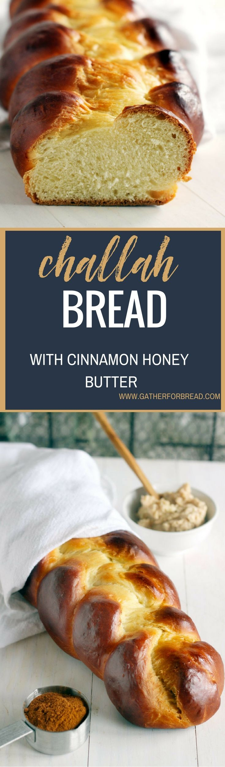 Challah with Cinnamon Honey Butter  Traditional Jewish bread. Beautiful braided bread made with eggs. Perfect for Easter serves up wonderfully with cinnamon honey butter.