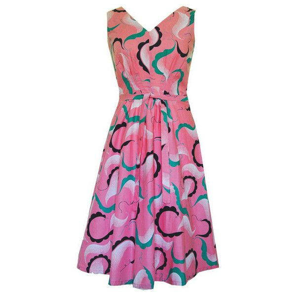 Candy pink cotton garland print 1960s dress (1.056.675 IDR) ❤ liked on Polyvore featuring dresses, summer sun dresses, pink fit-and-flare dresses, cotton dress, cotton sun dresses and pink sundress