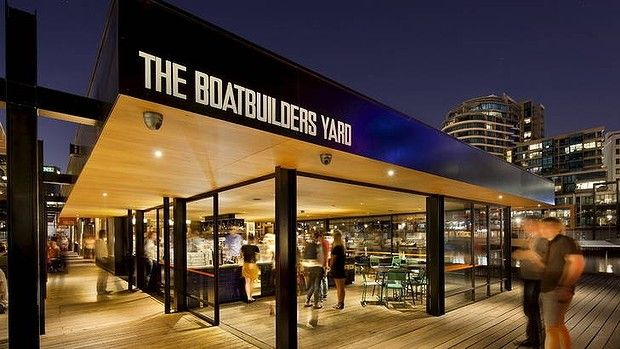 The Boatbuilders yard, designed by #sixdegrees, by night #swpromenade #melbourne #pub