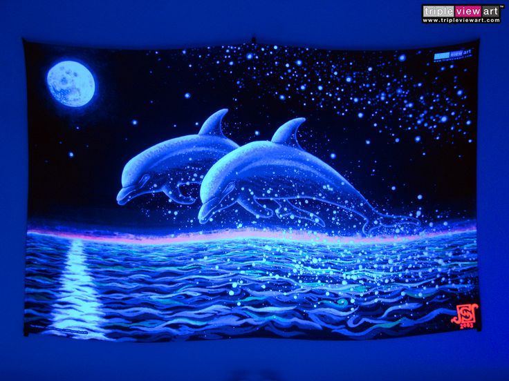 """""""Two Dolphins"""" UV-Blacklight Fluorescent Glow Psychedelic Art Backdrop, £90 in Tripleview Art Shop. #psychedelic #psy #goa #trance #psytrance #goatrance #rave #club #festival #trippy #hippie #esoteric #mystic #spiritual #visionary #symbolism #UV #ultraviolet #blacklight #fluorescent #fluoro #fluo #neon #glow #luminescent #art #backdrop #banner #wallhanging #tapestry #deco #dolphins #moonlight #fullmoon #seascape #romantic #love"""