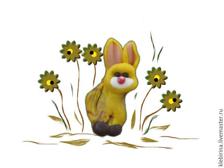Купить Брошка - Собачень солнечный ушастый - рисунок, брошь ручной работы, желтый, маленькая брошь