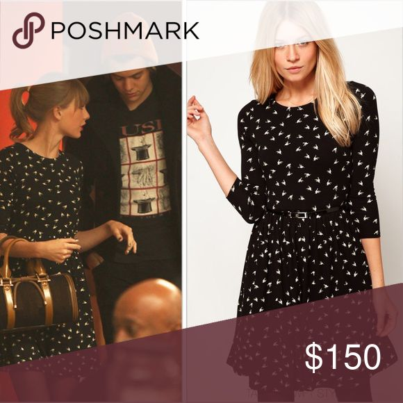 Asos Hummingbird Print Skater Dress ASO Tay Swift Up for sale is a pre-owned Asos brand Hummingbird Print 3/4 sleeve Skater Dress as seen on the lovely Taylor Swift. Size 2. Excellent pre-owned condition. Belt is not included. Sold out immediately, very difficult to find! ASOS Dresses Mini