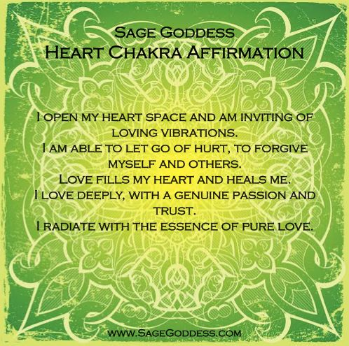 Sage Goddess honors the heart chakra, the center of emotional healing and love. What parts of your heart need healing? Here is a lovely affirmation to recite during meditation