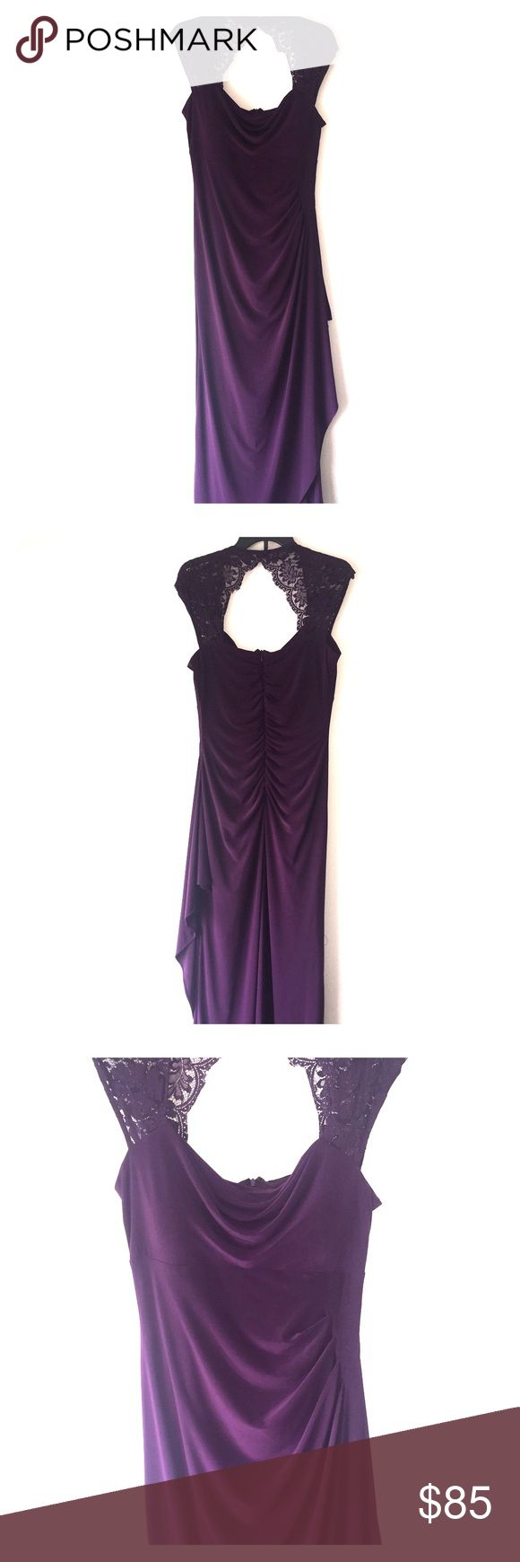 Long purple formal dress Lace top, cowl neck, purple gown with ruffles MSK Dresses Prom