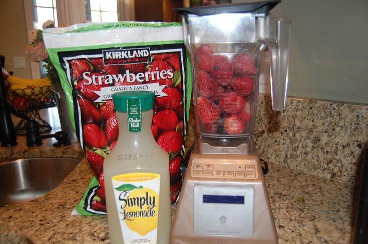 FROZEN STRAWBERRY LEMONADE: 4 cups frozen Strawberries, 3-4 cups prepared bottled Simply Lemonade, Sweetener if desired. Blend in VitaMix.