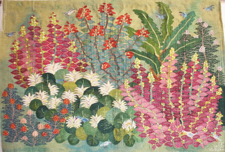 Nagla invents an English style border garden for the villages of the Nile. Flowers by Nagla Farouk, Wool Tapestry, 2013, 1.60 x 1.11 m ( 63 x 44 inches) Read more about the artist, Nagla Farouk. Each