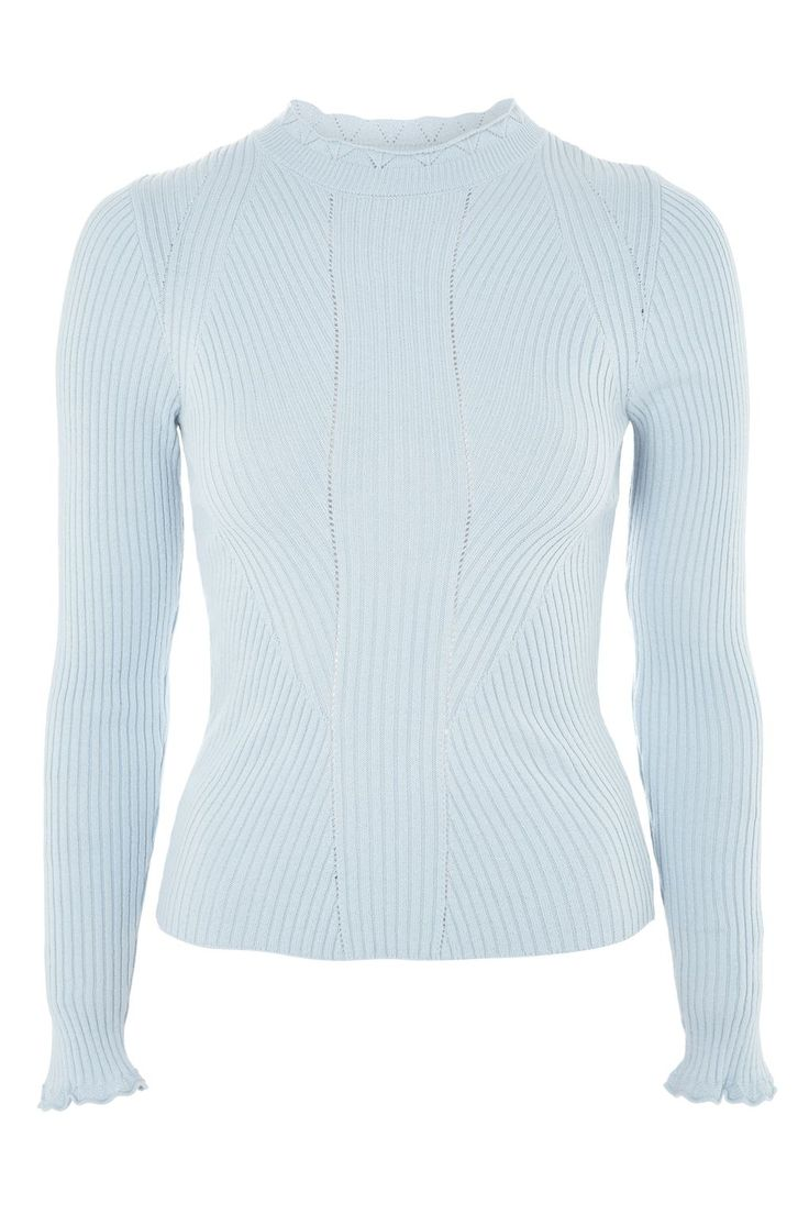 Blue Frill Neck Sweater