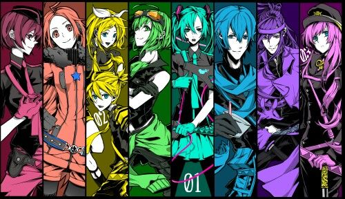 "Vocaloid wallpaper "" Love is War "" Miku Hatsune, Rin Kagamine, MEIKO and GUMI"