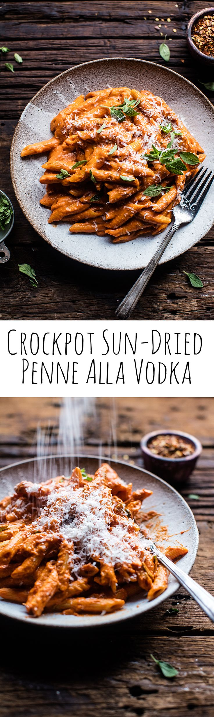Crockpot Sun-Dried Tomato Penne Alla Vodka | halfbakedharvest.com @hbharvest