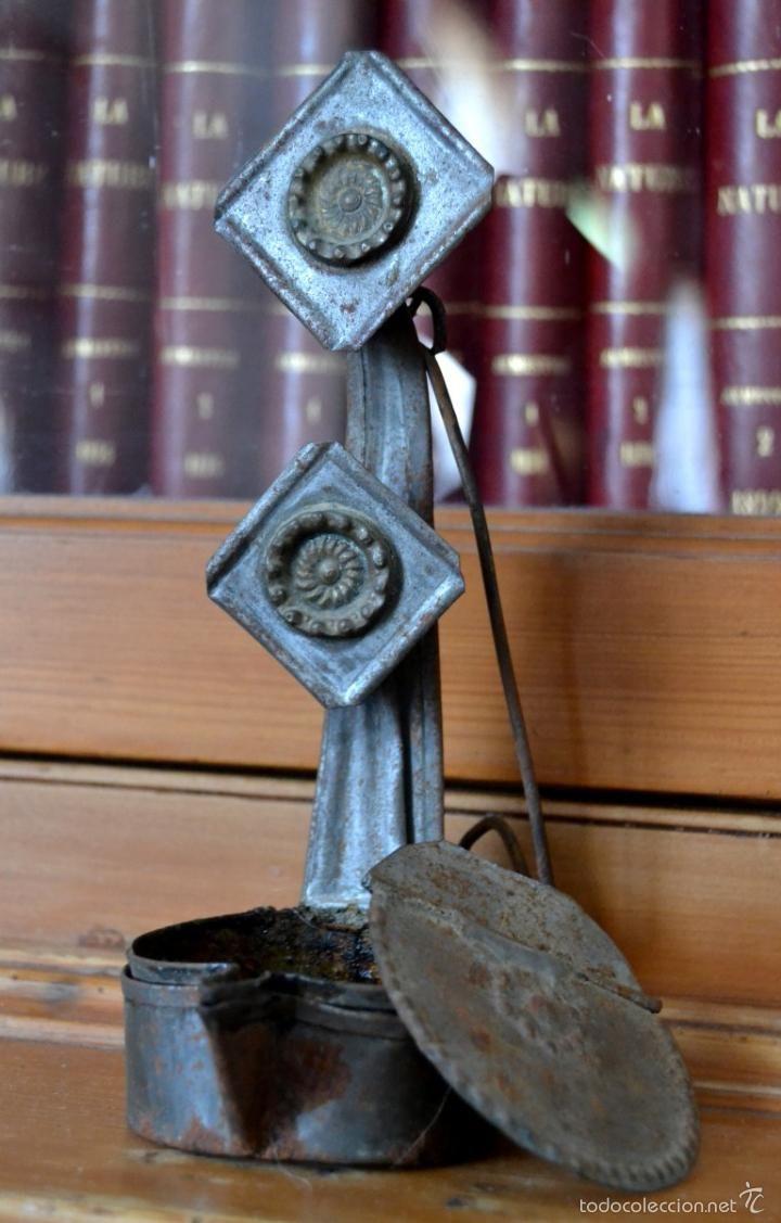 ANTIGUA Y SINGULAR LAMPARA DE ACEITE * CANDIL * LUCERNA DE HIERRO PARA COLGAR Y CON TAPA (Antigüedades - Iluminación - Lámparas Antiguas)