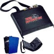 """Deluxe Stadium Cushion / Blanket -- Black deluxe stadium cushion / blanket with blue lining. Polar fleece blanket with 210D polyester backing. Converts easily from seat cushion to blanket. Front and back open pockets. Zippered closure. 28"""" shoulder strap. Item Size: 12"""" H x 15-3/4"""" W with 2-1/2"""" gusset (closed), 58"""" H x 47"""" W (opened)."""