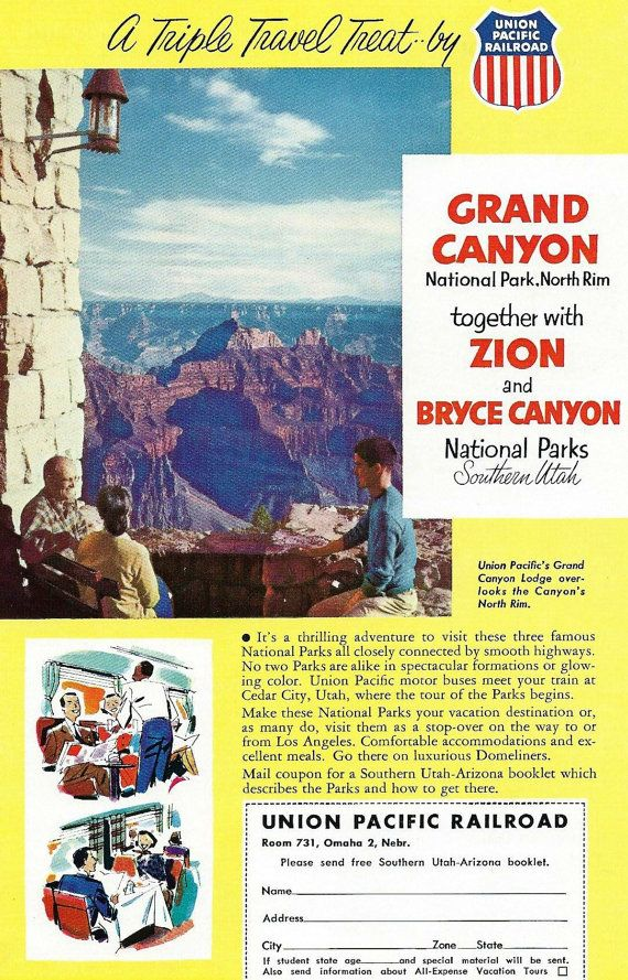 Vintage Grand Canyon Union Pacific Railroad Travel Ad - 1950's Zion Bryce Canyon National Parks by Train - Souvenir Arizona Utah Wall Decor