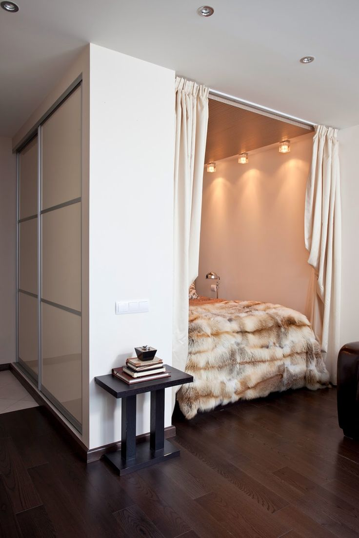 Интерьер квартиры-студии с кроватью в нише, 33 кв.м. / Интерьер / Архимир