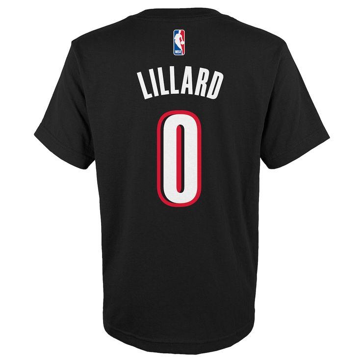 Boys 8-20 Portland Trail Blazers Damian Lillard Player Name & Number Replica Tee, Size: L 14-16, Black