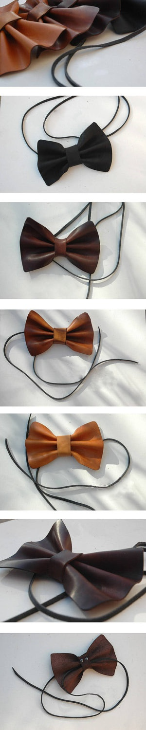 Handmade grooms leather bow tie by Nicoleyy1221 on Etsy.