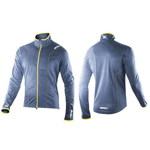 2XU Men's Performance Jacket, Blue Stone/Neon Yellow, X-Large. Hidden MP3 pocket. Wind Shield Membrane for protection against the elements. Contrast trims. Full 5:10 Xstretch Membrane for outstanding water protection and breathability. Light weight and flexible. Variation: Size - X Large.
