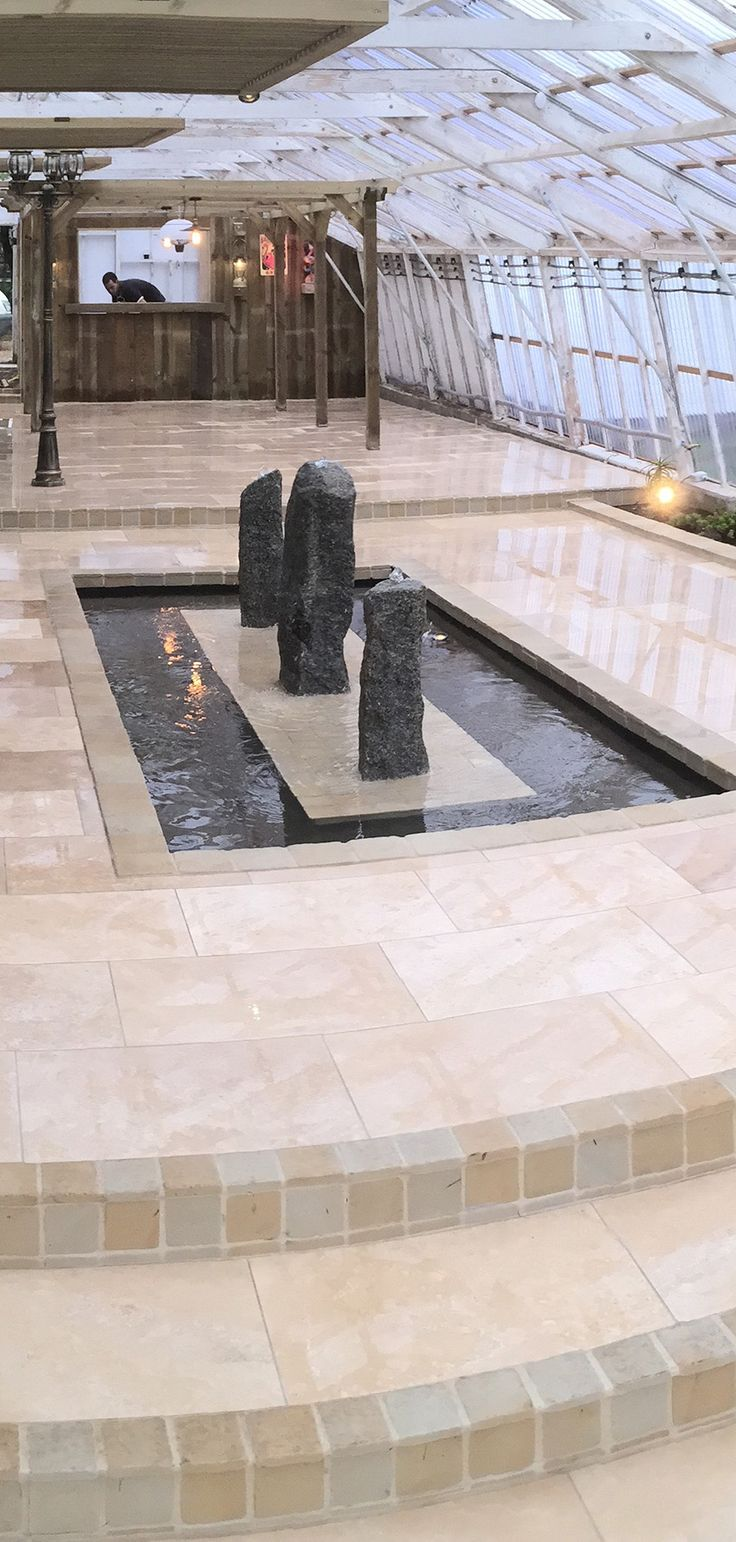 Ivory Sandstone Flagstones | Modern Patio | Landscaping | Garden Design | Tavertine Tile | Water Feature | Contemporary | Cornerstone Paving