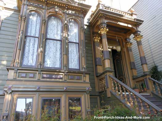 Front porch with gilded porch columns and trim! Front-Porch-Ideas-and-More.com #porch