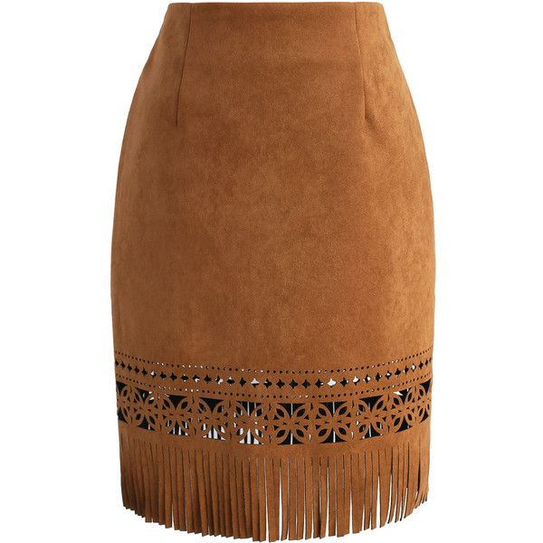 Chicwish Spiffy Tassel Hem Faux Suede Pencil Skirt in Brown ($38) ❤ liked on Polyvore featuring skirts, brown, brown skirt, brown knee length skirt, faux suede skirt, brown pencil skirt and faux suede pencil skirt