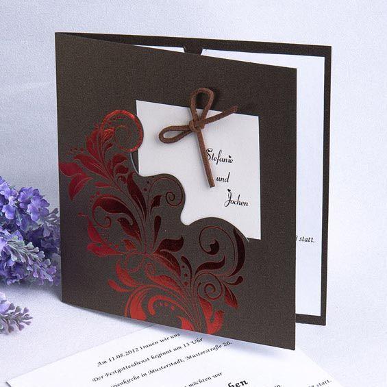 Moderne Einladungen Zur Hochzeit Mit Kleinem Zettel Und Roten Folien
