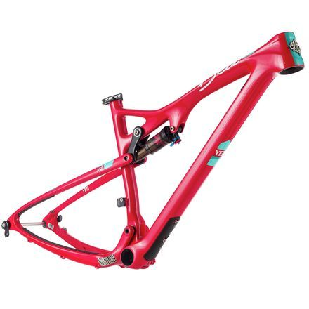 Don't be fooled by the cutsie naming convention, the 2017 Yeti Cycles ASR Beti Turq Mountain Bike Frame isn't the downgraded pink-and-shrink fare we're used to seeing in products targeting women. It features the same top-tier, hard-riding, trail shredding construction and geometry found in the ASR Turq, just with a lighter tune to better suit smaller riders.