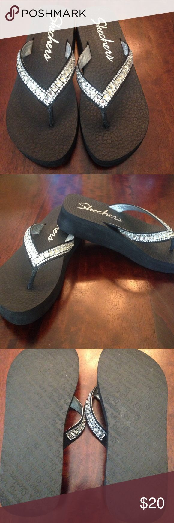 Skechers Sandal with Wedge Heel Flip Flops Excellent condition; no stains; memory foam to cushion and form to your foot; wedge-style heels; glittering rhinestone accents on straps (none missing) Super-comfy!! Skechers Shoes Sandals