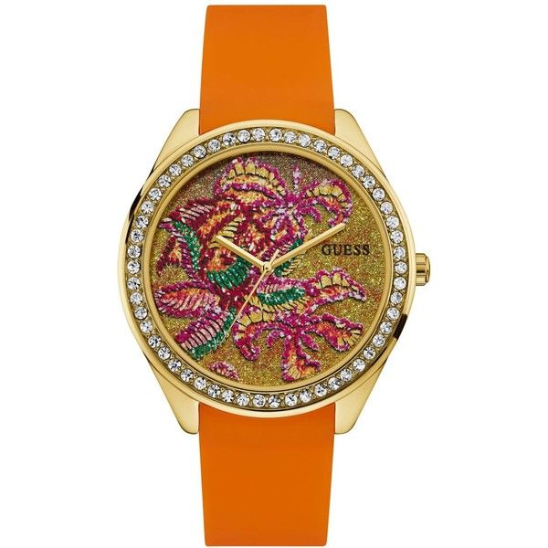 Guess Women's Orange Silicone Strap Watch 44.5mm U0960L2 ($95) ❤ liked on Polyvore featuring jewelry, watches, orange, guess wrist watch, guess jewelry, orange watches, flower jewelry and flower jewellery