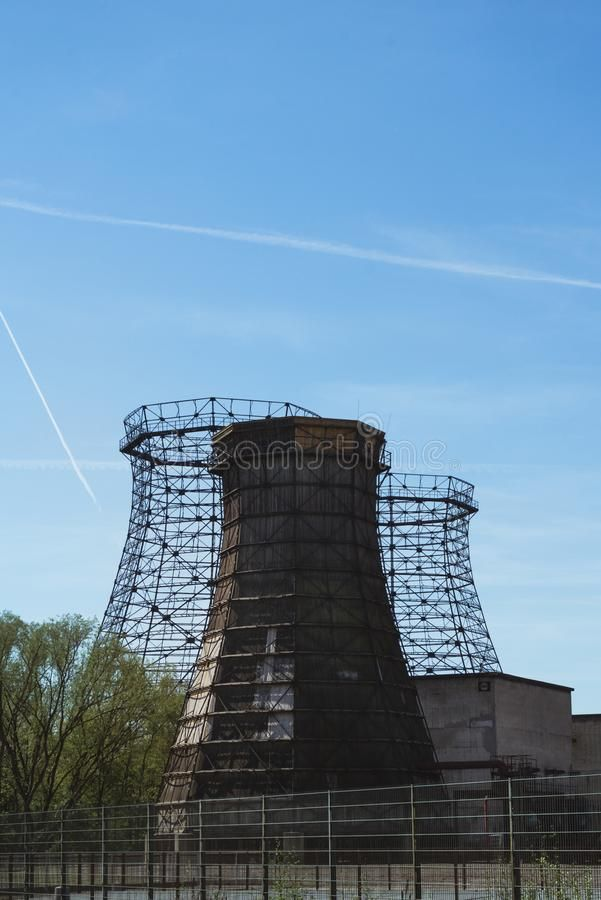 Three Old Wooden And Steel Cooling Tower Stock Image Image Of