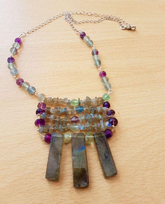 Rainbow  Necklace Labradorite Fluorite necklace  Fluorite
