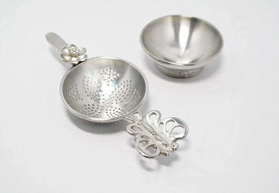 Handmade Pewter Butterfly Tea Strainer TS018 by TITASY on Etsy