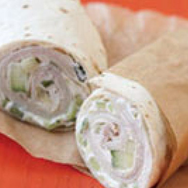 Turkey Wrap with Cucumber Cream Cheese Recipe. This is my new favorite lunch! So yummy and only 208 calories with multigrain wrap and reduced fat cream cheese!