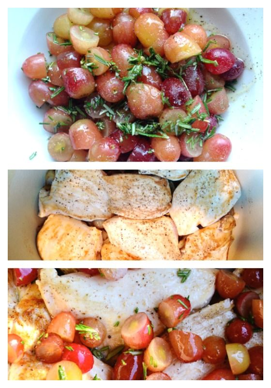 Roasted Chicken, Grapes, and Rosemary