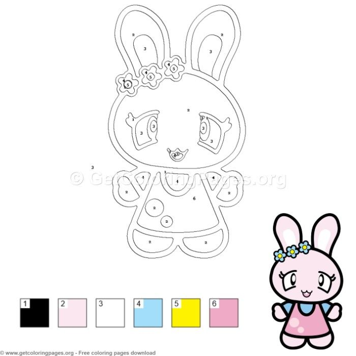 Sweet Cute Rabbit Color by Number Free instant download #coloring ...