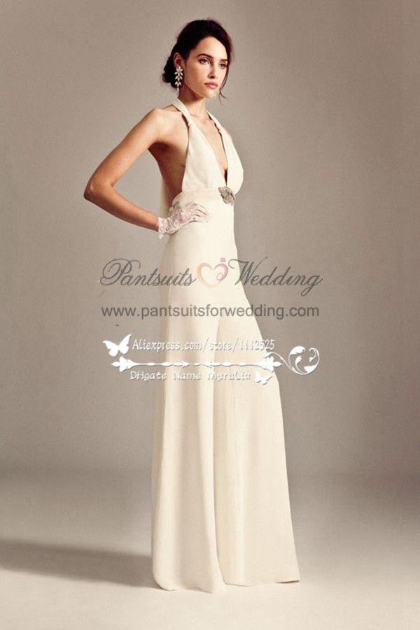 4ed46da431 Sexy decollete bridal jumpsuits Chiffon pants for beach wedding BA-047