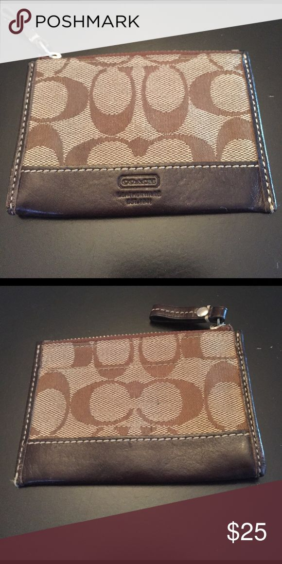 Coach skinny wallet/change purse This skinny is perfect for holding credit cards and/or change. In great condition! Coach Bags Wallets
