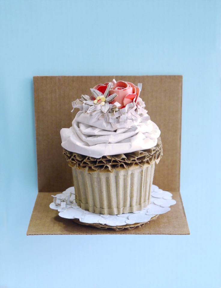 Spring Wedding Cupcake With Flowers And Coconut Recycled Cardboard Cake Home Kitchen Decor Art. $65.00, via Etsy.