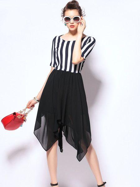 Paneled Fashion Mini Dress #stylewe #stripe #women