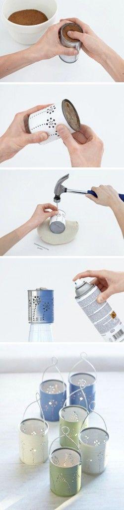 Este proyecto está destinado a reunir latas recicladas, perforarlas con ayuda de clavos y martillo y colocarlas ya sea como un simple adorno o para utilizarlas como portavelas. La lata [&hel...