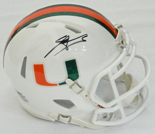 Edgerrin James Signed Miami Hurricanes Riddell Speed Mini Helmet - Schwartz COA