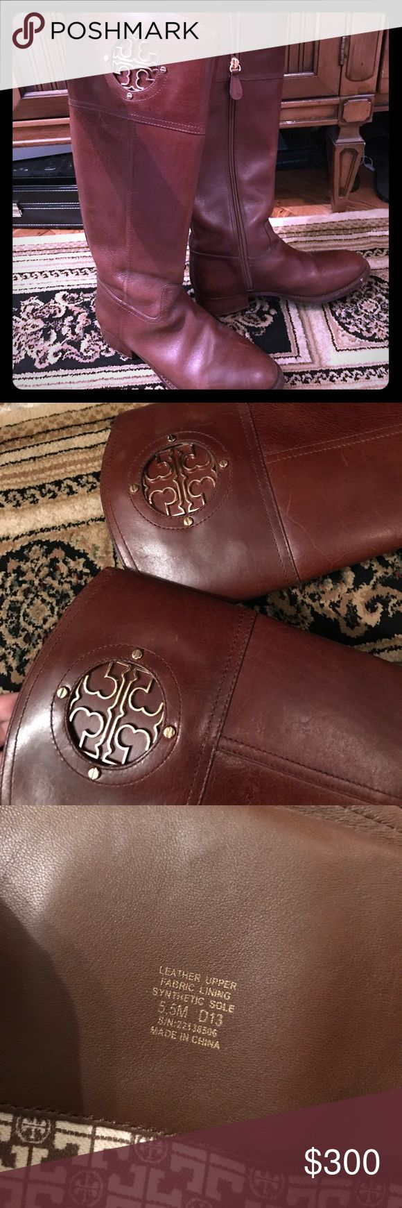 Tory Burch Boots Tory Burch signature brown leather equestrian boots (sold out online). Gently worn. Very little signs of wear. Size 5.5. Make me an offer! No trades. Tory Burch Shoes Over the Knee Boots