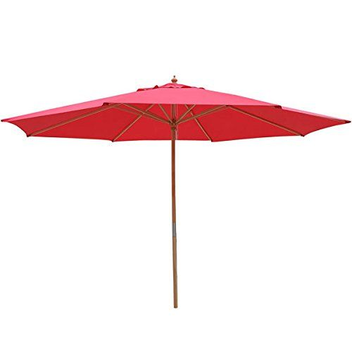 13 Foot Beech Wood Patio Umbrella With Red Canopy For Sale  Https://patiofurnituresetsusa