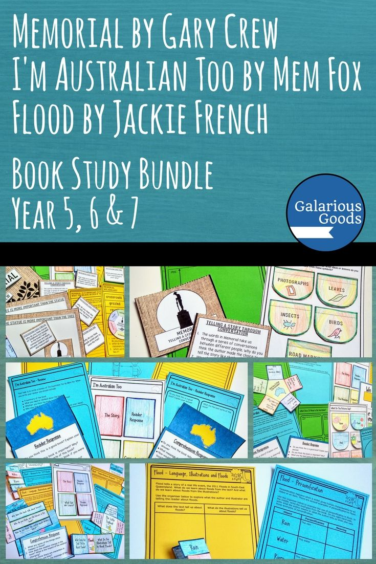 Explore what it means to be Australian and how Australia responds to war and natural disasters with this three book study bundle. Including Memorial by Gary Crew, I'm Australian Too by Mem Fox and Flood by Jackie French, this bundle includes in-depth activities for your classroom. Perfect for middle grades, Year 5, Year 6 and Year 7 #galariousgoods #reading #bookstudy