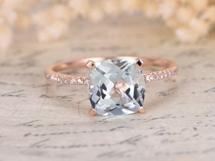 8mm Cushion Cut Aquamarine Ring,Aquamarine Engagement Ring,March Birthstone Ring,14k Rose Gold,Ball Set,Diamond Pave Band,Blue Gemstone by kilarjewelry on Etsy https://www.etsy.com/ca/listing/477657504/8mm-cushion-cut-aquamarine