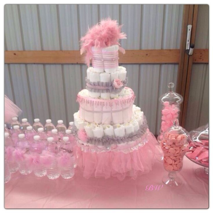 Diaper Cake, Tulle Water Bottles & Pink Treats! made this ...